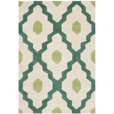 Wilkin Ivory / Teal Moroccan Rug Rug Size: Rectangle 2 x 3