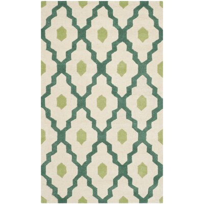 Wilkin Ivory / Teal Moroccan Rug Rug Size: Rectangle 3 x 5
