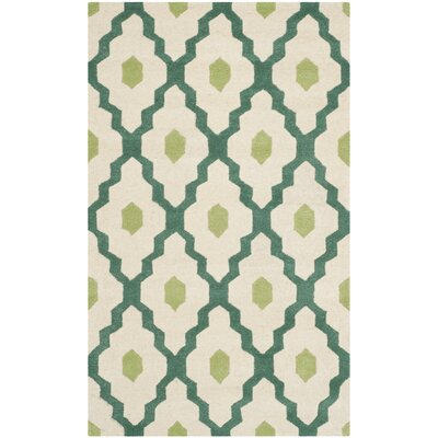 Wilkin Ivory / Teal Moroccan Rug Rug Size: 3 x 5