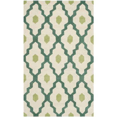 Wilkin Ivory / Teal Moroccan Rug Rug Size: Rectangle 4 x 6
