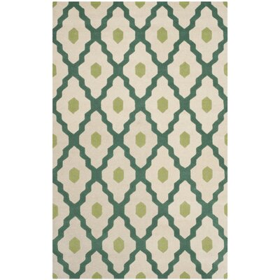 Wilkin Ivory / Teal Moroccan Rug Rug Size: Rectangle 5 x 8