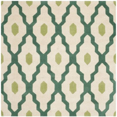 Wilkin Ivory / Teal Moroccan Rug Rug Size: Square 5
