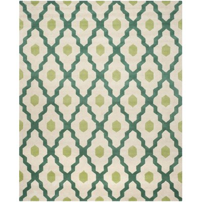 Wilkin Ivory / Teal Moroccan Rug Rug Size: Rectangle 8 x 10