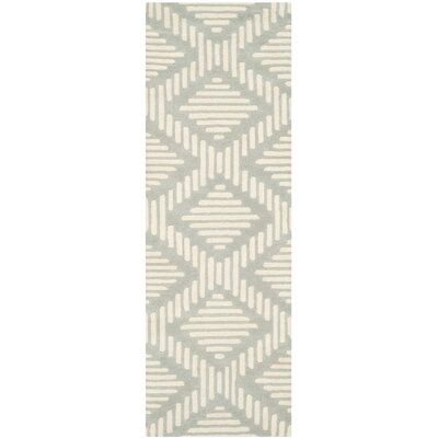 Wilkin Moroccan Hand-Tufted Wool Gray/Ivory Area Rug Rug Size: Runner 23 x 7