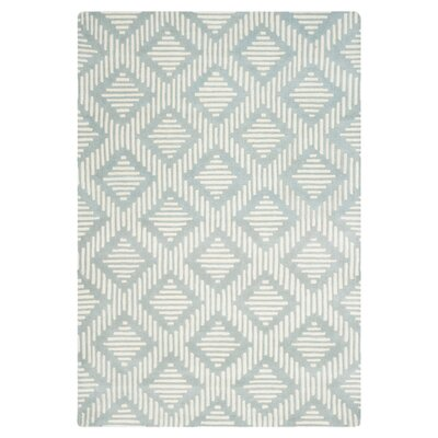 Wilkin Moroccan Hand-Tufted Wool Gray/Ivory Area Rug Rug Size: Rectangle 3 x 5