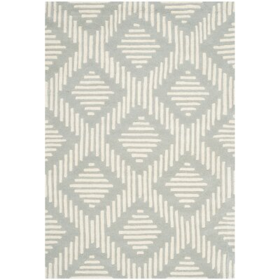 Wilkin Moroccan Hand-Tufted Wool Gray/Ivory Area Rug Rug Size: Rectangle 4 x 6