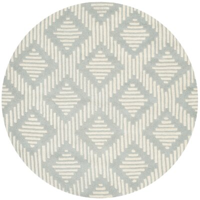 Wilkin Moroccan Hand-Tufted Wool Gray/Ivory Area Rug Rug Size: Round 5