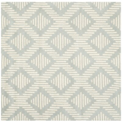 Wilkin Moroccan Hand-Tufted Wool Gray/Ivory Area Rug Rug Size: Square 5