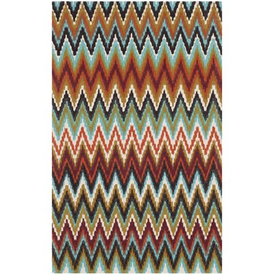 Sonny Teal / Red Area Rug Rug Size: Rectangle 4 x 6