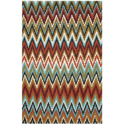 Sonny Teal / Red Area Rug Rug Size: 4 x 6