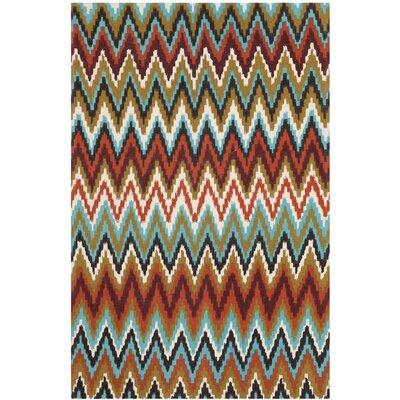Sonny Teal / Red Area Rug Rug Size: 5 x 8