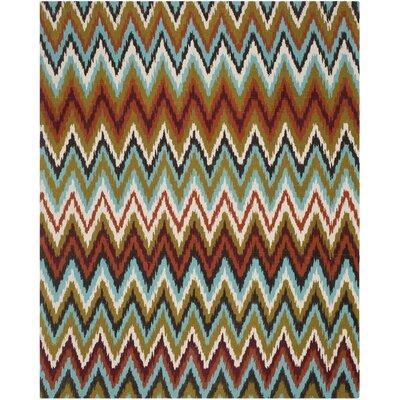 Sonny Teal / Red Area Rug Rug Size: 73 x 93