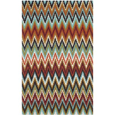 Sonny Teal / Red Area Rug Rug Size: Runner 2' x 6'