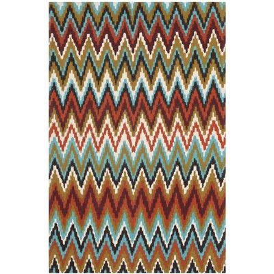 Sonny Teal / Red Area Rug Rug Size: 6 x 9