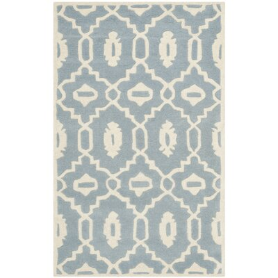 Wilkin Moroccan Hand-Tufted Wool Blue/Ivory Area Rug Rug Size: Rectangle 3 x 5