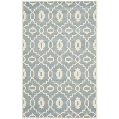 Wilkin Moroccan Hand-Tufted Wool Blue/Ivory Area Rug Rug Size: Rectangle 6' x 9'