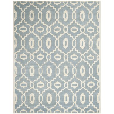 Wilkin Moroccan Hand-Tufted Wool Blue/Ivory Area Rug Rug Size: Rectangle 8' x 10'