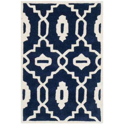 Wilkin Moroccan Hand-Tufted Wool Dark Blue/Ivory Area Rug Rug Size: Rectangle 2 x 3