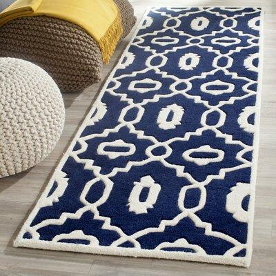 Wilkin Moroccan Hand-Tufted Wool Dark Blue/Ivory Area Rug Rug Size: Runner 23 x 7