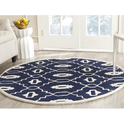 Wilkin Moroccan Hand-Tufted Wool Dark Blue/Ivory Area Rug Rug Size: Round 5