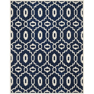 Wilkin Moroccan Hand-Tufted Wool Dark Blue/Ivory Area Rug Rug Size: Rectangle 8 x 10