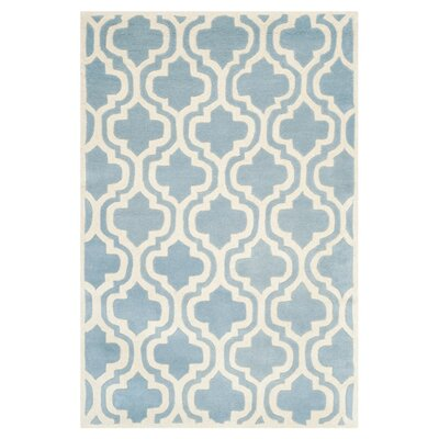 Wilkin Moroccan Hand-Tufted Wool Blue/Ivory Area Rug Rug Size: Rectangle 5 x 8