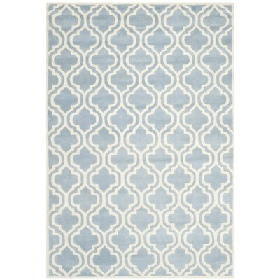 Wilkin Moroccan Hand-Tufted Wool Blue/Ivory Area Rug Rug Size: Rectangle 9 x 12