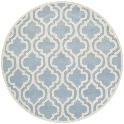 Wilkin Blue / Ivory Moroccan Rug Rug Size: Round 5