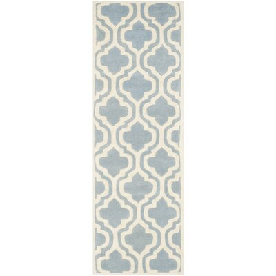 Wilkin Moroccan Hand-Tufted Wool Blue/Ivory Area Rug Rug Size: Runner 23 x 5