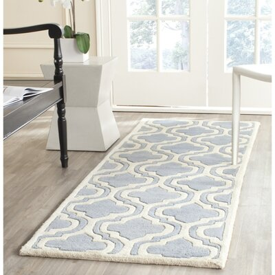 Wilkin Moroccan Hand-Tufted Wool Blue/Ivory Area Rug Rug Size: Runner 23 x 9