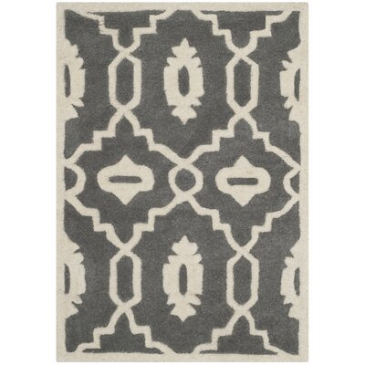 Wilkin Moroccan Hand-Tufted Wool Dark Gray/Ivory Area Rug Rug Size: Rectangle 2 x 3