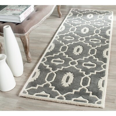 Wilkin Moroccan Hand-Tufted Wool Dark Gray/Ivory Area Rug Rug Size: Runner 23 x 9