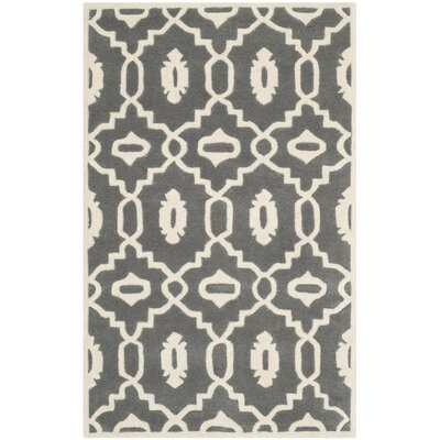Wilkin Moroccan Hand-Tufted Wool Dark Gray/Ivory Area Rug Rug Size: Rectangle 3 x 5