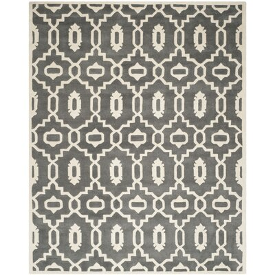 Wilkin Moroccan Hand-Tufted Wool Dark Gray/Ivory Area Rug Rug Size: Rectangle 8 x 10