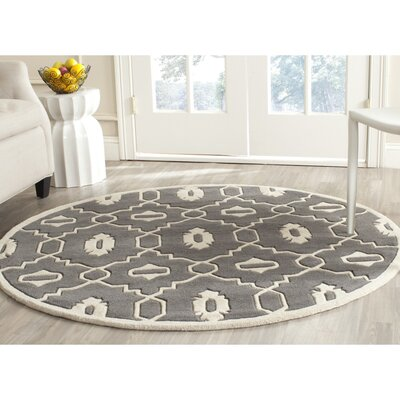 Wilkin Moroccan Hand-Tufted Wool Dark Gray/Ivory Area Rug Rug Size: Round 3