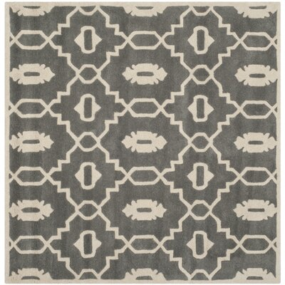 Wilkin Moroccan Hand-Tufted Wool Dark Gray/Ivory Area Rug Rug Size: Square 7
