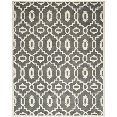 Wilkin Moroccan Hand-Tufted Wool Dark Gray/Ivory Area Rug Rug Size: Rectangle 89 x 12