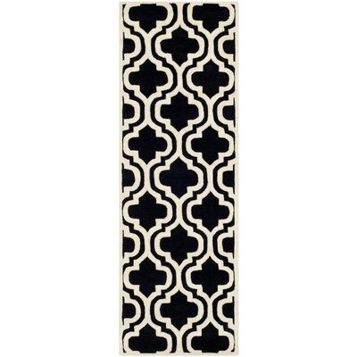 Wilkin Moroccan Hand-Tufted Wool Black/Ivory Area Rug Rug Size: Runner 23 x 7