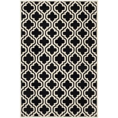 Wilkin Moroccan Hand-Tufted Wool Black/Ivory Area Rug Rug Size: Rectangle 4 x 6