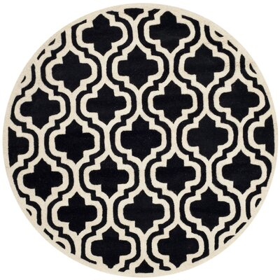 Wilkin Moroccan Hand-Tufted Wool Black/Ivory Area Rug Rug Size: Round 5