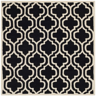 Wilkin Moroccan Hand-Tufted Wool Black/Ivory Area Rug Rug Size: Square 5
