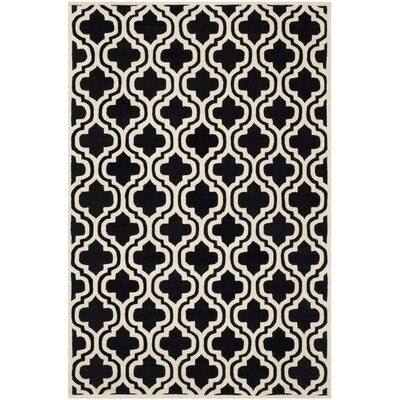 Wilkin Moroccan Hand-Tufted Wool Black/Ivory Area Rug Rug Size: Rectangle 6 x 9