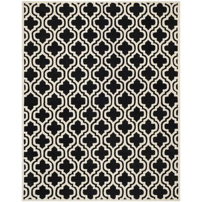 Wilkin Moroccan Hand-Tufted Wool Black/Ivory Area Rug Rug Size: Rectangle 8 x 10