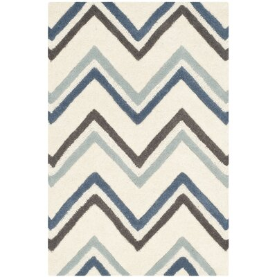 Martins Ivory / Blue Chevron Area Rug Rug Size: 26 x 4