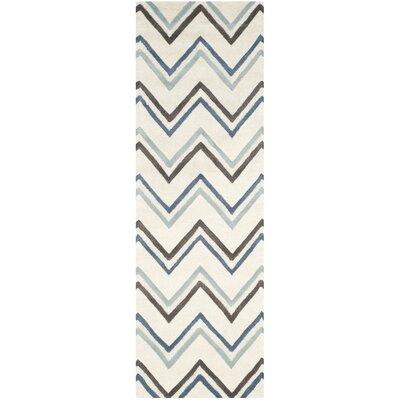 Charlenne Ivory / Blue Chevron Area Rug Rug Size: Runner 26 x 8