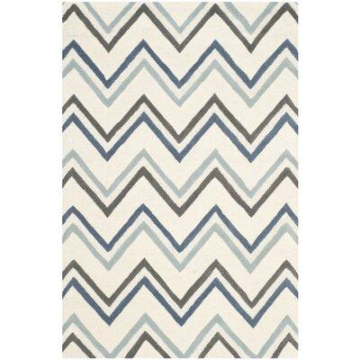 Martins Ivory / Blue Chevron Area Rug Rug Size: 3 x 5