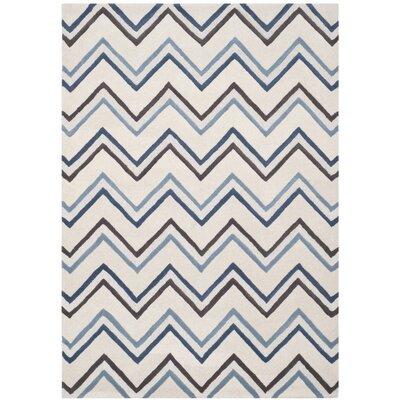 Martins Ivory / Blue Chevron Area Rug Rug Size: 5 x 8