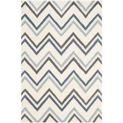 Martins Ivory / Blue Chevron Area Rug Rug Size: 4 x 6