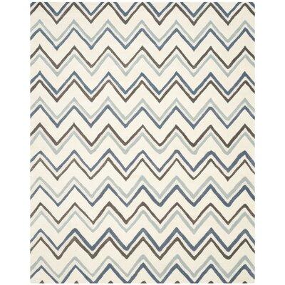 Charlenne Ivory / Blue Chevron Area Rug Rug Size: 8 x 10