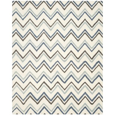 Charlenne Ivory / Blue Chevron Area Rug Rug Size: 9 x 12